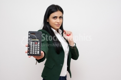 Woman with a calculator in her hands