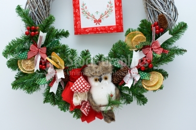 Wreath close up with owl