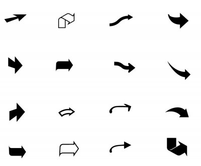 16 Vector Curved Arrows