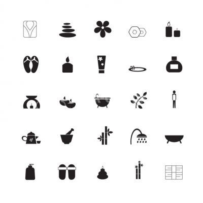 Black Spa Icons - Illustration