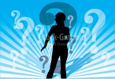 Confused woman vector background