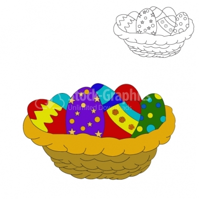 Easter Eggs in a Basket - Illustration