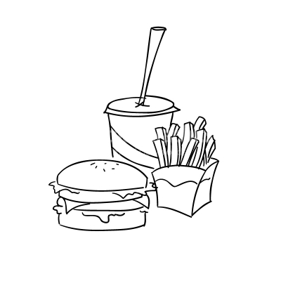 Fast Food Lineart Vector Clipart