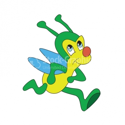 Green insect running - Illustration