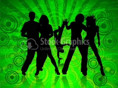 Happy people dancing on green background