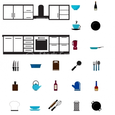 Kitchen tools and furniture Icons - Illustration