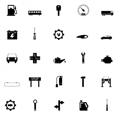 Set icons of auto, car parts, repair and service - Illustration
