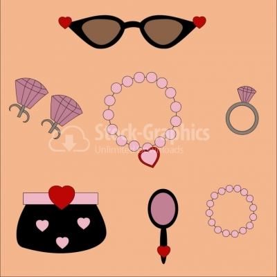 Set of women accessories - Illustration
